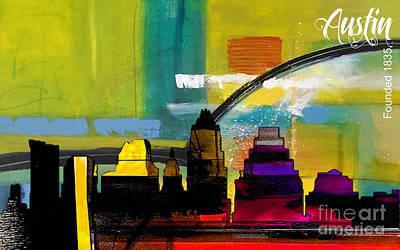 Austin Skyline Mixed Media - Austin Texas Skyline Watercolor by Marvin Blaine