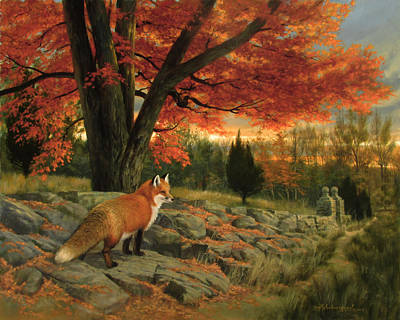 Red Fox Painting - Autumn Bright by David Henderson