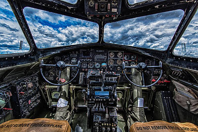 Aero Photograph - B-17 Cockpit by Mike Burgquist