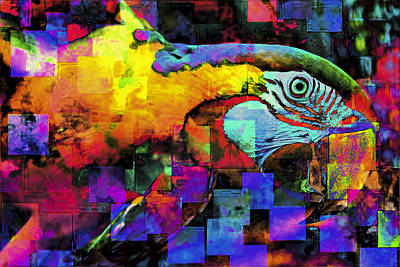 Macaw Digital Art - Babaloo Blue by Wendy Mogul