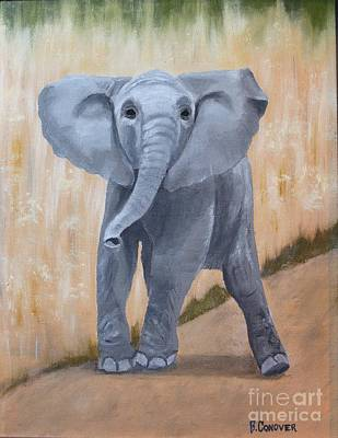Happy Elephant Painting - Baby Elephant by Bev Conover