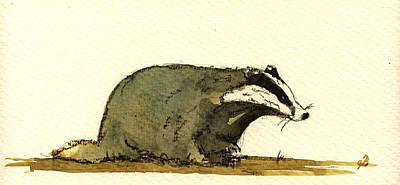 Wolverine Painting - Badger by Juan  Bosco