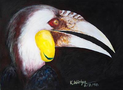 Hornbill Painting - Bar-pouched Wreathed Hornbill by Wiriya Klinsaowakon