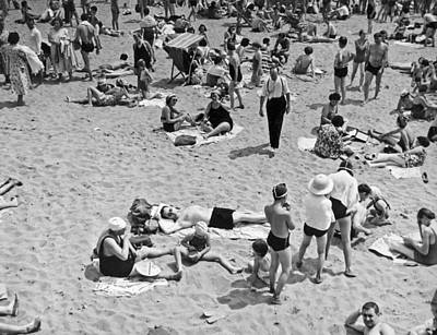 Bathers At Coney Island. Print by Underwood Archives
