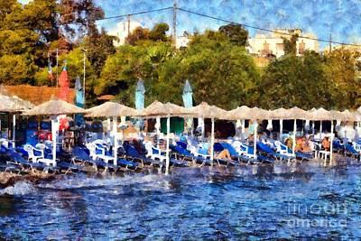 Relaxing Painting - Beach In Aegina Town by George Atsametakis
