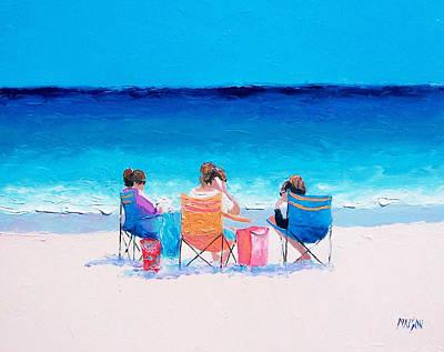 Art Mobile Painting - Beach Painting 'girl Friends' By Jan Matson by Jan Matson