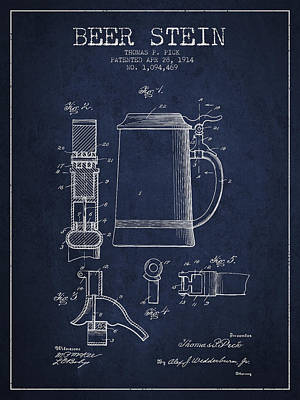 Beer Stein Patent From 1914 - Navy Blue Print by Aged Pixel