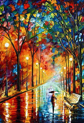 Park Benches Painting - Before The Celebration by Leonid Afremov