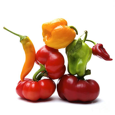 Healthy Eating Photograph - Bell Peppers And Tomatoes by Bernard Jaubert