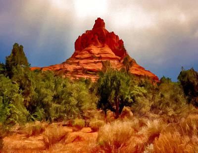 Bell Rock Vortex Painting Print by Bob and Nadine Johnston