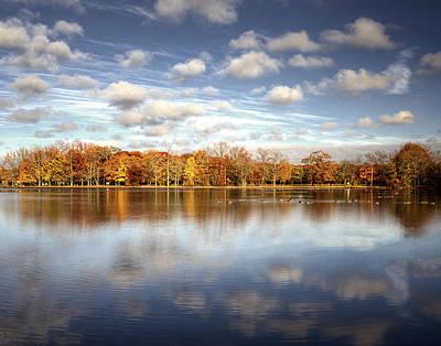 Belmont Lake Reflections Print by Vicki Jauron