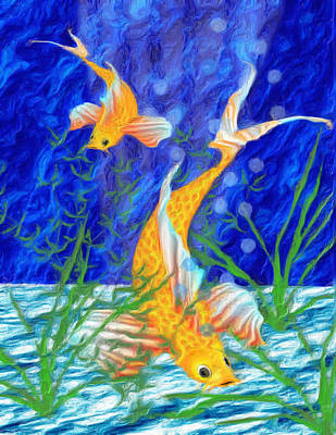 Colorful Tropical Fish Digital Art - Beneath The Waves by Jack Zulli