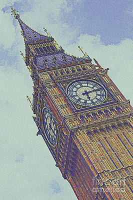 Lamp Post Mixed Media - Big Ben In London by Celestial Images