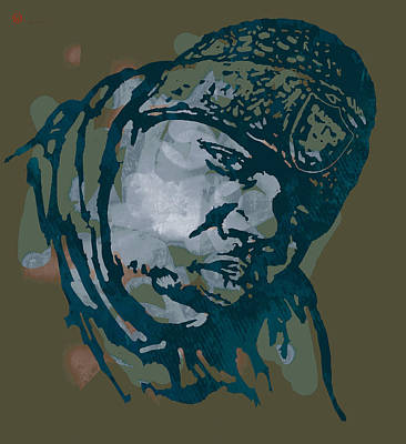The Main Drawing - Biggie Smalls Modern Colour Etching Art  Poster by Kim Wang