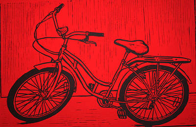 Lino Drawing - Bike 5 by William Cauthern