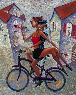 Wine Painting - Bike Life by Ned Shuchter