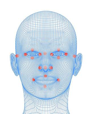 Human Eye Photograph - Biometric Facial Map by Alfred Pasieka