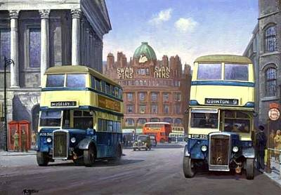 Transportart Painting - Birmingham Town Hall. by Mike  Jeffries