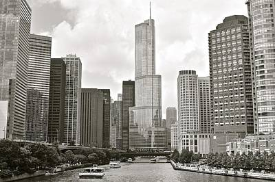 Riverwalk Photograph - Black And White Chicago by Frozen in Time Fine Art Photography