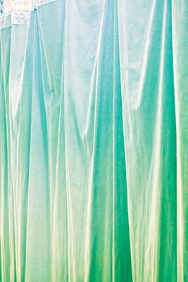 Blue Curtain Print by Tom Gowanlock