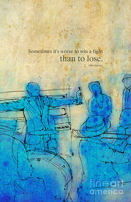 Quote Drawing - Blue Jazz - Bille Holiday Quote by Pablo Franchi