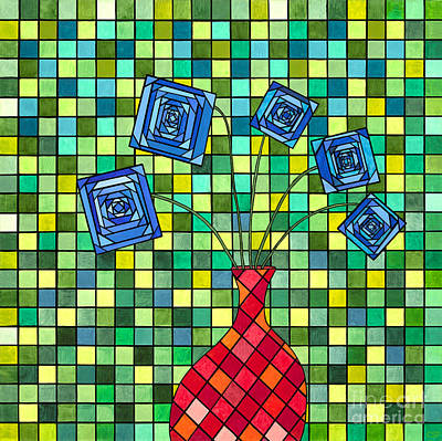 Blue Square Flowers Original by Christopher Page