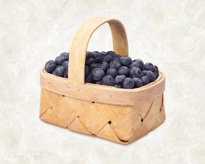 Healthy Print featuring the painting Blueberry Basket by Danny Smythe