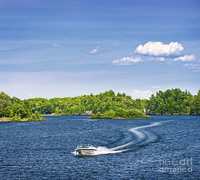 Boating On Lake Print by Elena Elisseeva