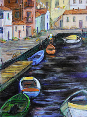 Boat Painting - Boats In Front Of The Buildings IIi by Xueling Zou