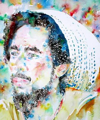 Rasta Painting - Bob Marley Watercolor Portrait.8 by Fabrizio Cassetta