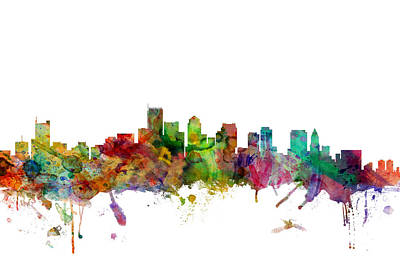 Boston Digital Art - Boston Massachusetts Skyline by Michael Tompsett