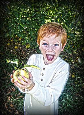 Farm Photograph - Boy With Apple  by Kelly Hazel
