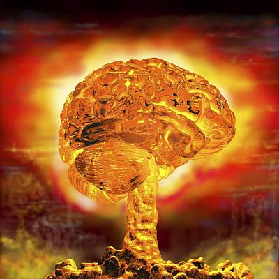 Brain As Atomic Bomb Print by Russell Kightley