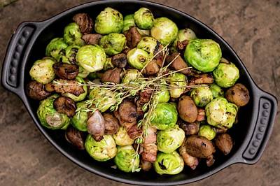 Brussels Sprouts In Dish Print by Aberration Films Ltd