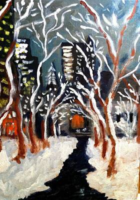 Bryant Painting - Bryant Park Winter Night Nyc by Jean Messner