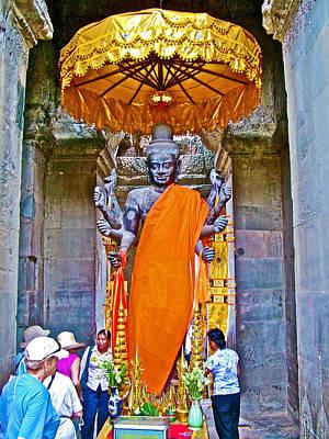 Angkor Digital Art - Buddha Image Inside Angkor Wat-cambodia by Ruth Hager