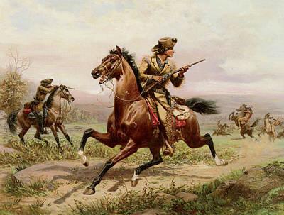 Buffalo Bill Fighting Indians Print by Louis Maurer