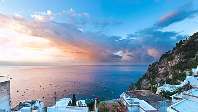 Rooftop Photograph - Buildings At The Waterfront, Positano by Panoramic Images