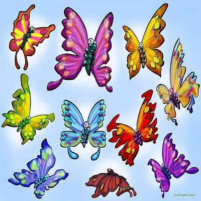 Butterfly Digital Art - Butterflies by Kevin Middleton