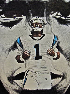 Panther Drawing - Cam Newton by Darryl Mallanda