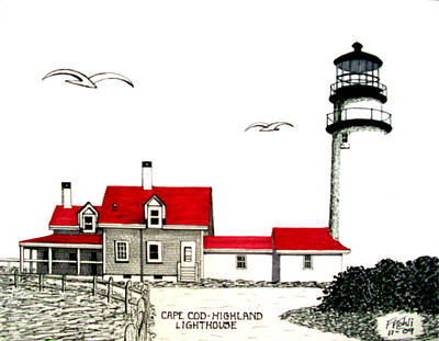 Coastal Drawing - Cape Cod - Highland - Lighthouse by Frederic Kohli