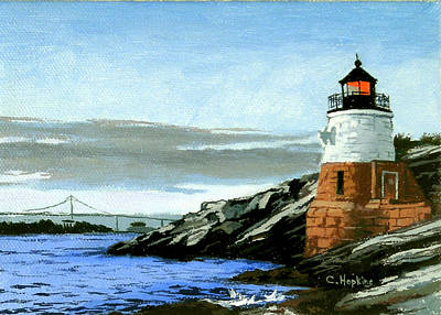Ocean Painting - Castle Hill Lighthouse Newport Rhode Island by Christine Hopkins