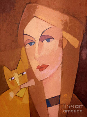 Cat Images Painting - Cat Lady by Lutz Baar
