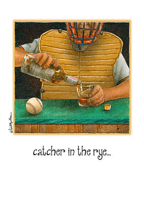 Baseball Card Painting - Catcher In The Rye... by Will Bullas