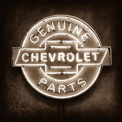 Chevrolet Neon Sign Print by Jill Reger
