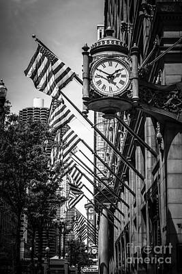 Chicago Macy's Clock In Black And White Print by Paul Velgos