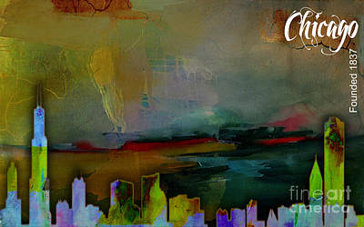 Chicago Skyline Mixed Media - Chicago Skyline Watercolor by Marvin Blaine