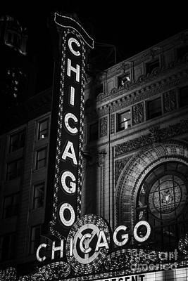 Black And White Photograph - Chicago Theatre Sign In Black And White by Paul Velgos