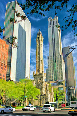 Water Tower Painting - Chicago Water Tower Shopping by Christopher Arndt