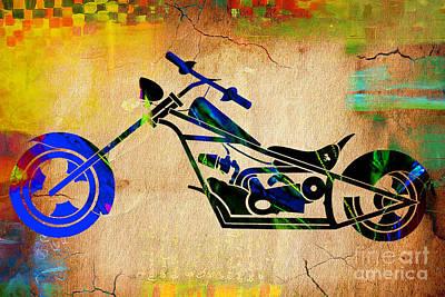 Bike Mixed Media - Chopper by Marvin Blaine